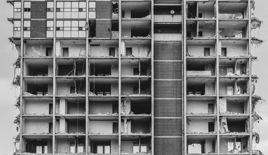 destroyed-high-rise-bw